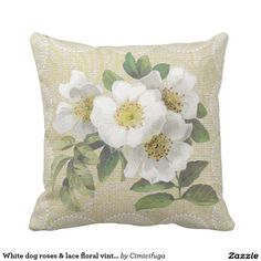 White dog roses & lace floral vintage pillow