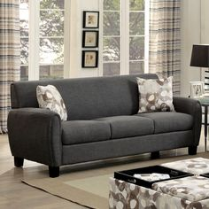 Furniture of America Giovanna Contemporary Linen-like Upholstered Sofa with Pillows | Overstock.com Shopping - The Best Deals on Sofas & Loveseats