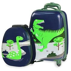 """Kids Luggage & Backpack Set - iPlay, iLearn 16"""" Carry On Luggage with Spinner Wheels and 12"""" Backpack Set"""