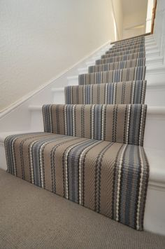 Browse the selection of stair runner designs from Hartley & Tissier Striped Carpet Stairs, Striped Carpets, Stair Carpet, Sisal Carpet, Hallway Carpet, Tartan Carpet, Grey Carpet, Wool Carpet, Narrow Hallway Decorating
