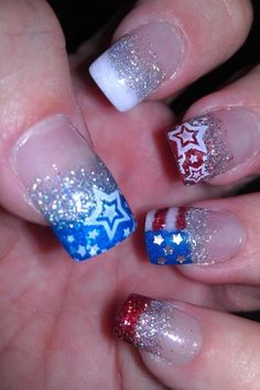 Glitter acrylic, red white & blue, Fourth of July, Independence Day, all acrylic, polish stamped stars, American flag, stars