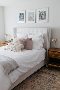 35 Amazingly Pretty Shabby Chic Bedroom Design and Decor Ideas - The Trending House Airy Bedroom, Romantic Bedroom Decor, Rustic Master Bedroom, White Bedroom, Bedroom Sets, Home Decor Bedroom, Modern Bedroom, Bedroom Artwork, Gold Bedroom
