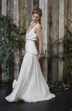 Silk chiffon wedding dress with coloured, beaded, floral detail. Bespoke Design, Silk Chiffon, Service Design, Detail, Wedding Dresses, Unique, Floral, Color, Collection