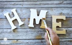 Make your own Interchangeable Wreath Home Sign – walnuthollowcrafts Interchangeable Wreath, Different Kinds Of Art, Dark Walnut Stain, Wood Letters, Home Signs, House In The Woods, Wall Signs, Autumn Leaves, Holiday Fun