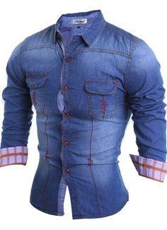 Camisa Fashion Jeans - Costuras Modernas - en Azul Oscuro y Azul Claro