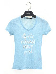 Dámske tričko Girls Fun - Dámske tričká s krátkym rukávom - Dámske tričká - Dámske oblečenie - JUSTPLAY Cool Girl, V Neck, Blue, Tops, Women, Fashion, Moda, Fashion Styles, Fashion Illustrations