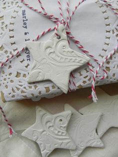 homemade clay tags/ tree decorations