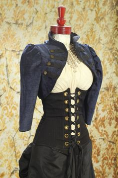 Navy Blue Chenille Cropped Steampunk Jacket by Damsel in this Dress