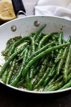 Sautéed Green Beans with BROWN BUTTER PESTO. A super easy side that's also elegant and perfect for entertaining!