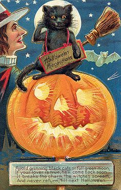 Shop for-and learn about-Vintage Halloween Postcards. Halloween has its roots in an ancient Celtic festival called Samhain, celebrating the end of summer. Halloween Logo, Retro Halloween, Vintage Halloween Images, Halloween Wishes, Halloween Greetings, Halloween Poster, Halloween Make, Vintage Holiday, Holidays Halloween