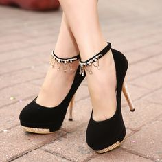 Black and Red Womens High-Heeled Shoes with Metal Heel and Buckle