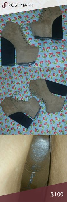 SALE. Jeffrey Campbell Freda Ahh-mazing Jeffrey Campbell Fredas. They are 6.25 inch high with a 3 inch platform for comfort. Only selling because I want big foxys by JC. These are in great condition and are super unique and super sold out. Size 8 medium. The suede is tan and looks lighter and darker just by the way it is laying, kinda like velevet when touched. Feel free to ask me any questions or make an offer. First and last photo not mine** Jeffrey Campbell Shoes Platforms