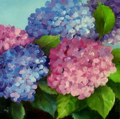 Garden Hydrangeas Oil on Stretched Canvas, x SOLD. I think it's my best hydrangea painting th. Mural Painting, Gouache Painting, Fabric Painting, Acrylic Flowers, Watercolor Flowers, Hydrangea Painting, Watercolor Artwork, Flower Art, Hydrangeas