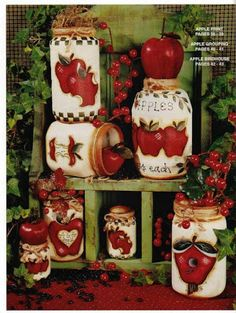 Items similar to Painted Jars By Conny Hubbard Decorative Painting Mason Jar Art Painting Patterns To Paint Acrylic Paints Folk Art Designs For Jars on Etsy Apple Kitchen Decor, Red Kitchen, Mason Jar Crafts, Mason Jars, Apple Decorations, Kitchen Decorations, Apple Prints, Decoupage Vintage, Painted Jars