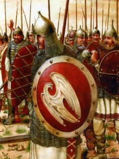 Russian knights (= bogatyry) in the 12th-14th centuries. Their shields contain Rurik's sign as falcon that later was transformed into the arms of Russia. Bogatyr has got another meaning, in medieval Russia he was a knight-hero that rescued his country. Usually he has got a fairy horse, a heavy sword and may have a friend, e.g. Wolf, that could speak, made magic tricks, and rescued Bogatyr if he needed it.
