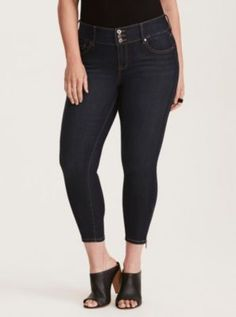 eddc20daf93 Higher-Rise Skinny Stiletto Zip Jeggings in Dark Wash