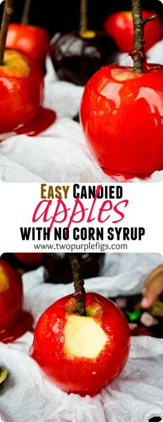 These Easy Candied Apples are a perfect crowd pleaser sweet candy and apple treat--Halloween or not! Made with no corn syrup in 10 mins! www.twopurplefigs.com