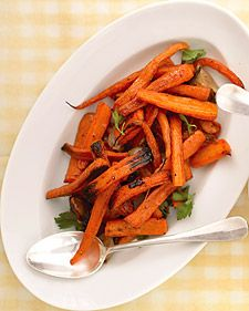 Roasted carrots with shallots, fresh parsley, and lemon