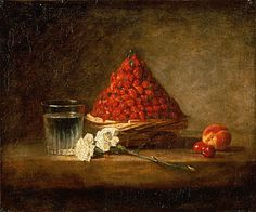 Basket of Wild Strawberries..Jean Baptiste Simeon Chardin 1761