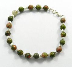 925 Sterling Silver, Natural Unakite Gemstone Fashionable Bracelet, 11.66 Gram  #Handmade #Chain