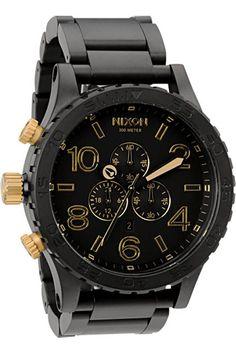 Nixon 51-30 Chrono Watch in Matte Black / Gold #menswatchesnixon
