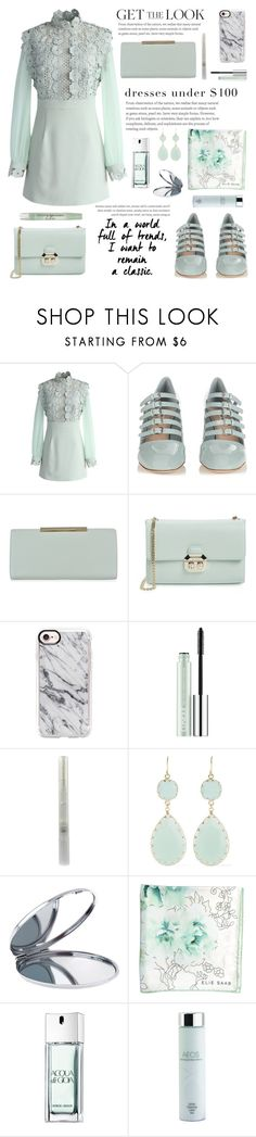 """""""Dresses Under $100"""" by glamorous09 ❤ liked on Polyvore featuring Chicwish, Miu Miu, Ted Baker, Casetify, Clinique, Kenneth Jay Lane, Miss Selfridge, Elie Saab, Giorgio Armani and AEOS"""