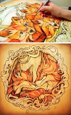 """""""Vulpes Vulpes"""" by Alice Macarova {foxes animal drawings #noveltechnique}"""