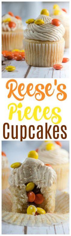 reeses pieces cupcakes | peanut butter cupcakes | reeses cupcakes | cupcake recipes | peanut butter desserts | pinata cupcakes | surprise inside cupcakes