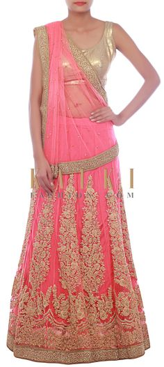 Buy Online from the link below. We ship worldwide (Free Shipping over US$100) http://www.kalkifashion.com/pink-lehenga-saree-embellished-in-pearl-and-thread-embroidery-only-on-kalki.html