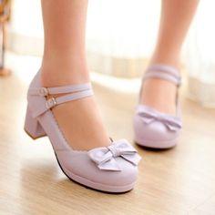 Women Lolita Wedding Bowknot Round Toe Mary Janes Chunky Block Heels Shoes Ss