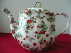 """Baum brothers """"Formalities"""" China Strawberry Teapot. $17.50, via Etsy."""