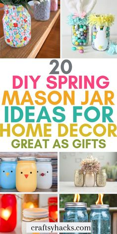 20 DIY Spring Mason Jar Ideas for Home Decor: Great As Gifts Try these diy spring mason jar ideas and decorate home with these little mason jar centerpieces. Get creative and get crafting! Mason Jar Centerpieces, Mason Jar Candles, Painted Mason Jars, Scented Candles, Mason Jar Gifts, Mason Jar Diy, Walmart Crafts, Mason Jar Projects, Diy Projects