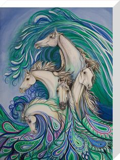 Paisley Sea Horses Art Print by Nicole Ann O'Connor at King & McGaw