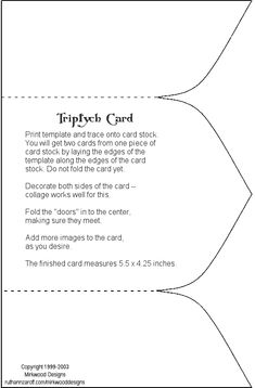 triptych pattern for Van Eyck project… Fancy Fold Cards, Folded Cards, Card Making Templates, Owl Templates, Applique Templates, Applique Patterns, Card Patterns, Felt Patterns, Shaped Cards