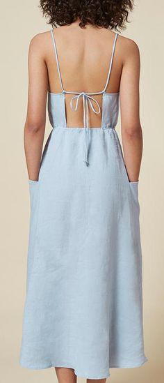 Reformation powder blue open back ankle length linen dress back