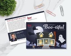 Made to Order Halloween Real Estate Prospecting Postcards Real Estate Postcards, Postcard Design, Marketing Ideas, Real Estate Marketing, Thank You Cards, Announcement, Advertising, House, Invitations