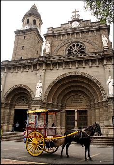 Manila Cathedral in Intramuros -Manila, Philippines. In front of it, a kalesa which is a traditional local transport. Philippines Culture, Manila Philippines, Philippines Travel, Philippine Architecture, Places To Travel, Places To Visit, Intramuros, Filipino Culture, Visayas