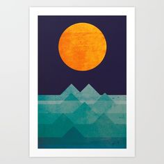 The ocean, the sea, the wave - night scene Art Print by Picomodi. Worldwide shipping available at Society6.com. Just one of millions of high quality products available.