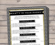 What's In Your Phone Bridal or Baby Shower Game, Black and Gold Glitter, What's In Your Purse Game by CaraCoPrintables