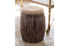 Barrel With Feed Sack Seat - From Antiquefarmhouse.com - http://www.antiquefarmhouse.com/current-sale-events/driftwood/barrel-with-feed-sack-seat.html