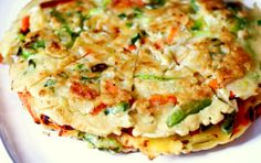 Korean Vegetable Pancakes | Mother's Mementos  I also read to substitute cold seltzer water and 1/2 rice flour.