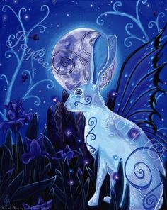 Hare and Moon - Celtic, Full Moon, Rabbit, Ostara, Spring, Vernal Equinox, Eostre, Giclee 13.5 x 10""