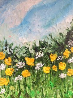 """ARTFINDER: """"Spring Meadow"""" by Lucy Moore - With this landscape I wanted to create something that was more abstract and less defined.    Bright daffodils amongst the dense undergrowth    painted 5/08/1..."""
