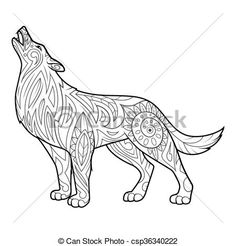 Vector Wolf Coloring Book For Adults