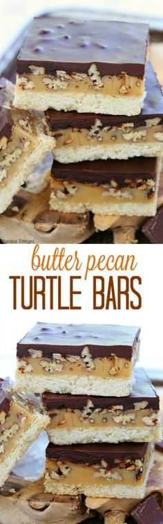 Easy to make butter pecan turtle bars everyone will go crazy over! Buttery cookie, gooey caramel, crunchy pecans and rich ganache - 4 layer of goodness in every bite!