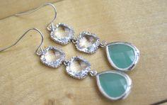 Tiffany Blue Earrings, Dangle Earrings, Tiffany Blue Wedding, Bridesmaids Jewelry, Bridal Jewelry, Bridesmaid Gifts