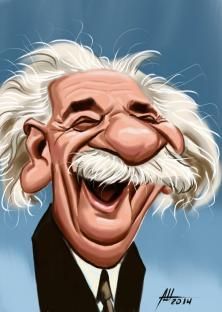 Albert Einstein by Jean Mulatier.a decoration, interpretation or visual explanation of a text, concept or main types: educational/textbook; and commercial/advertising Cartoon Faces, Funny Faces, Cartoon Art, Cartoon Characters, Funny Caricatures, Celebrity Caricatures, Celebrity Drawings, Comic Character, Character Design