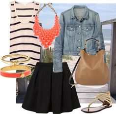 Nautical outfit    Dressing for all seasons: a little black skirt
