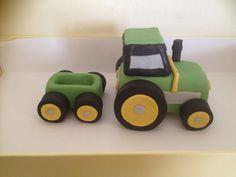 Fondant tractor cake topper with trailer Www.facebook.com/amandascreativecreations