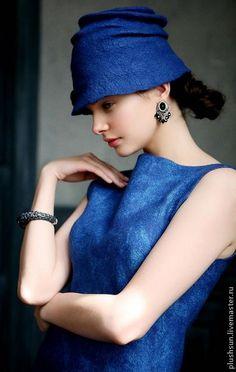 Шляпы ручной работы. Ярмарка Мастеров - ручная работа. Купить Валяная шляпка «Завтрак  у Тиффани». Handmade. Тёмно-синий, холли